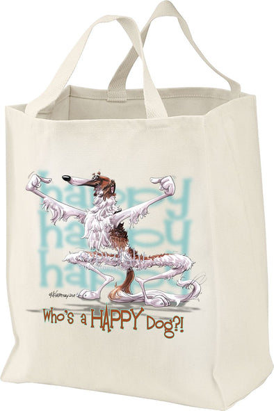Borzoi - Who's A Happy Dog - Tote Bag