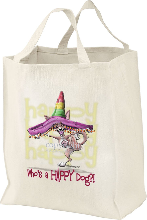 Chihuahua  Smooth - Who's A Happy Dog - Tote Bag