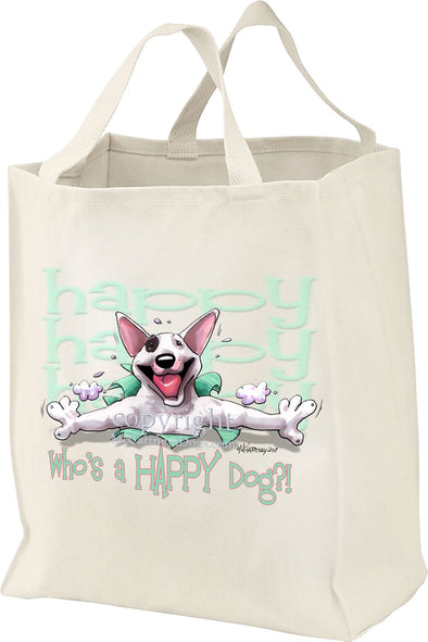 Bull Terrier - Who's A Happy Dog - Tote Bag