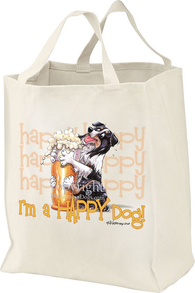 Australian Shepherd  Black Tri - 2 - Who's A Happy Dog - Tote Bag