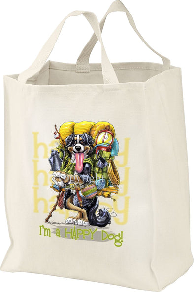 Bernese Mountain Dog - Who's A Happy Dog - Tote Bag