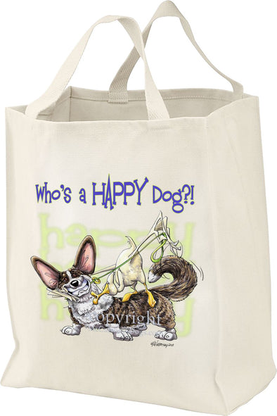 Welsh Corgi Cardigan - Who's A Happy Dog - Tote Bag