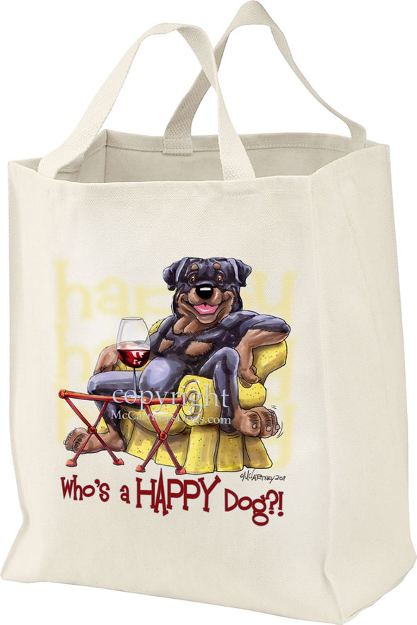 Rottweiler - 2 - Who's A Happy Dog - Tote Bag