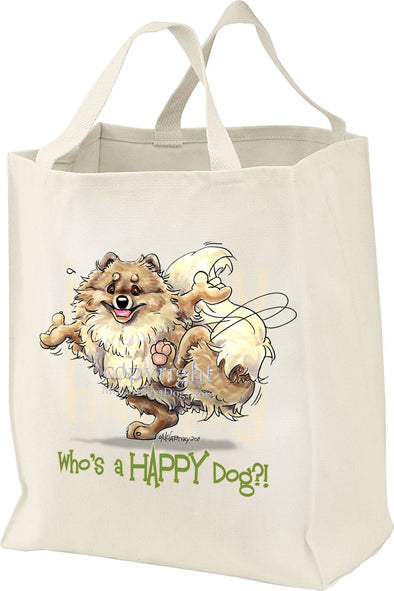 Pomeranian - Who's A Happy Dog - Tote Bag