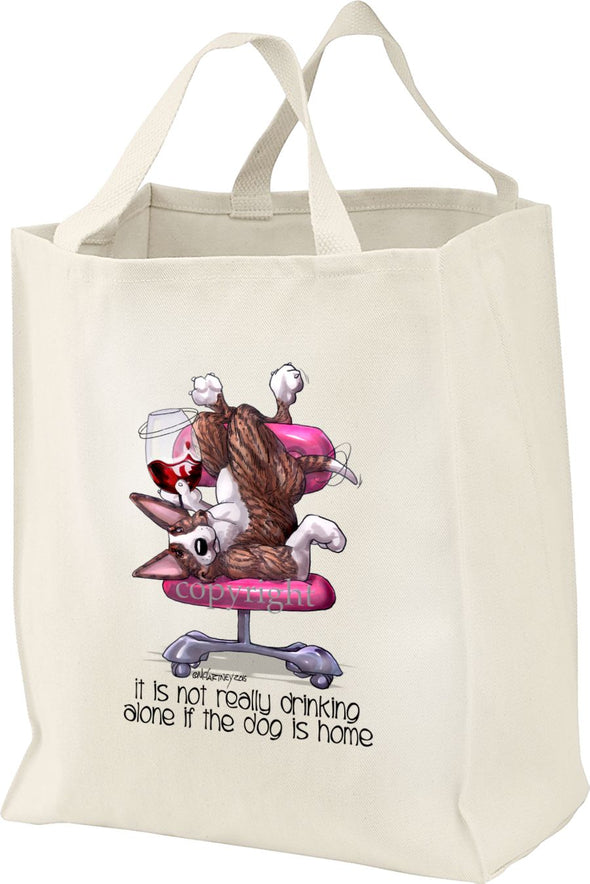Bull Terrier  Brindle - It's Not Drinking Alone - Tote Bag