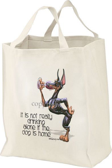 Doberman Pinscher - It's Not Drinking Alone - Tote Bag