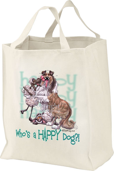 Collie - Who's A Happy Dog - Tote Bag