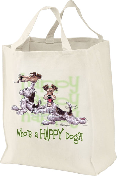 Wire Fox Terrier - Who's A Happy Dog - Tote Bag
