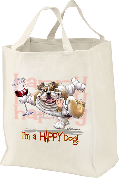 Bulldog - 2 - Who's A Happy Dog - Tote Bag
