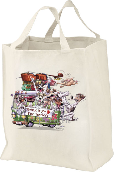 Wire Fox Terrier - Bark If You Love Dogs - Tote Bag