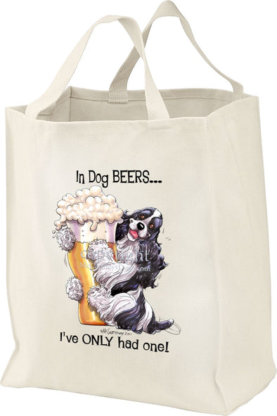 Cocker Spaniel  Black White - Dog Beers - Tote Bag