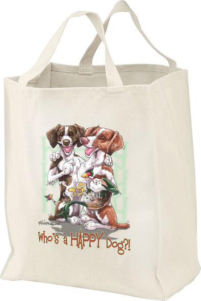 Brittany - Who's A Happy Dog - Tote Bag