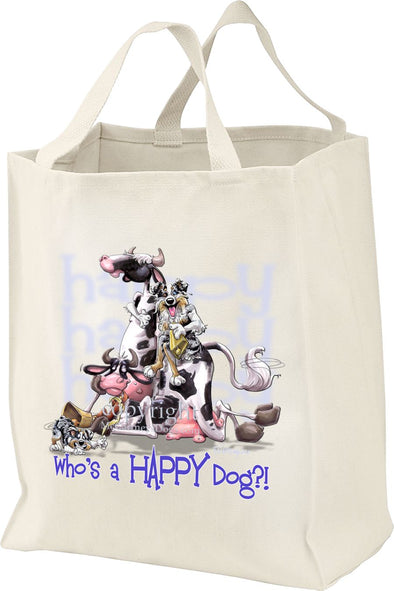 Australian Shepherd  Blue Merle - Who's A Happy Dog - Tote Bag