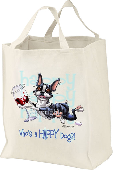 Boston Terrier - Who's A Happy Dog - Tote Bag