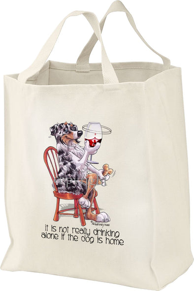 Australian Shepherd  Blue Merle - It's Not Drinking Alone - Tote Bag