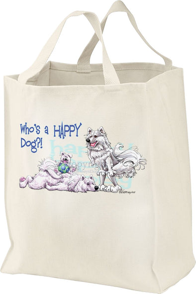 Samoyed - Who's A Happy Dog - Tote Bag