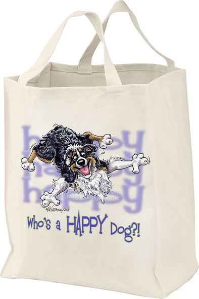 Australian Shepherd  Black Tri - Who's A Happy Dog - Tote Bag