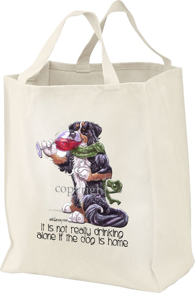 Bernese Mountain Dog - It's Not Drinking Alone - Tote Bag