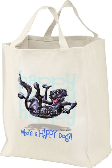 Flat Coated Retriever - Who's A Happy Dog - Tote Bag