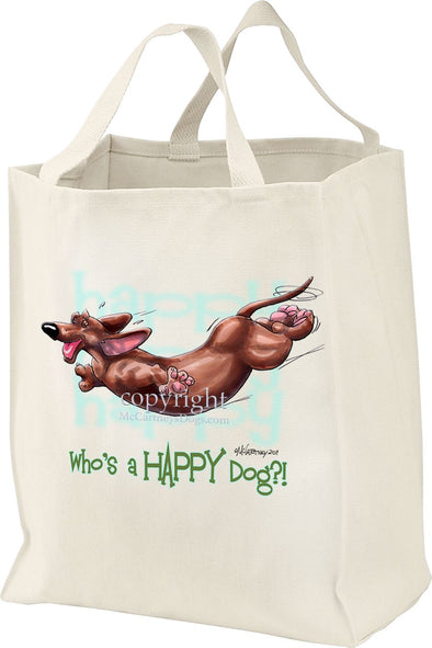 Dachshund  Smooth - Who's A Happy Dog - Tote Bag