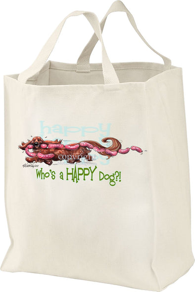Dachshund  Longhaired - Who's A Happy Dog - Tote Bag
