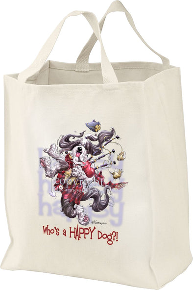 Bearded Collie - 2 - Who's A Happy Dog - Tote Bag