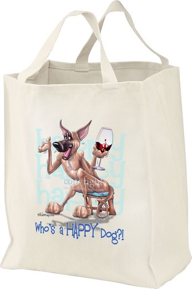 Great Dane - Who's A Happy Dog - Tote Bag