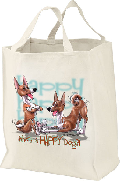 Basenji - Who's A Happy Dog - Tote Bag