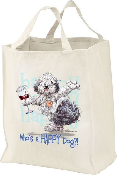 Old English Sheepdog - Who's A Happy Dog - Tote Bag