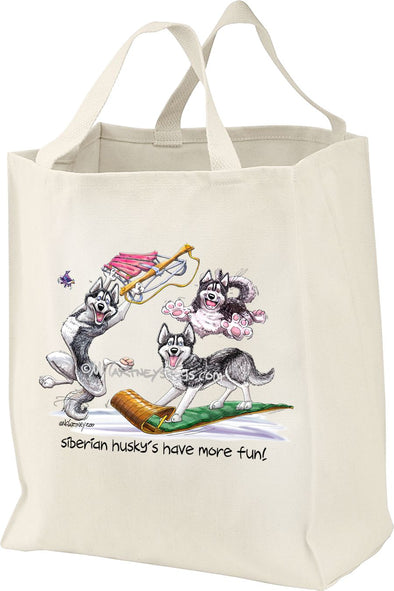 Siberian Husky - Group More Fun - Mike's Faves - Tote Bag