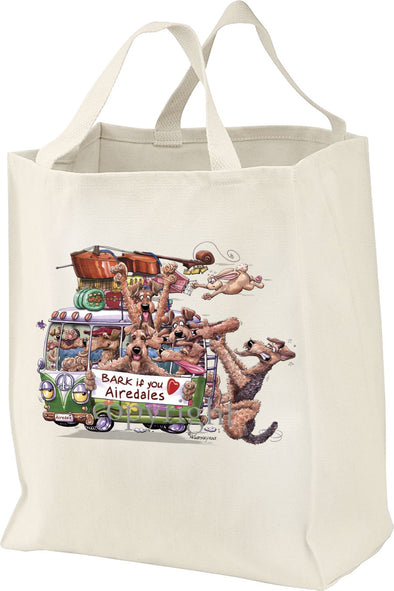 Airedale Terrier - Bark If You Love Dogs - Tote Bag