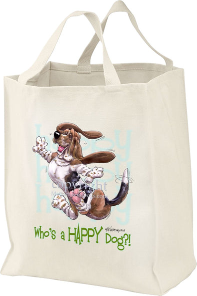 Basset Hound - Who's A Happy Dog - Tote Bag