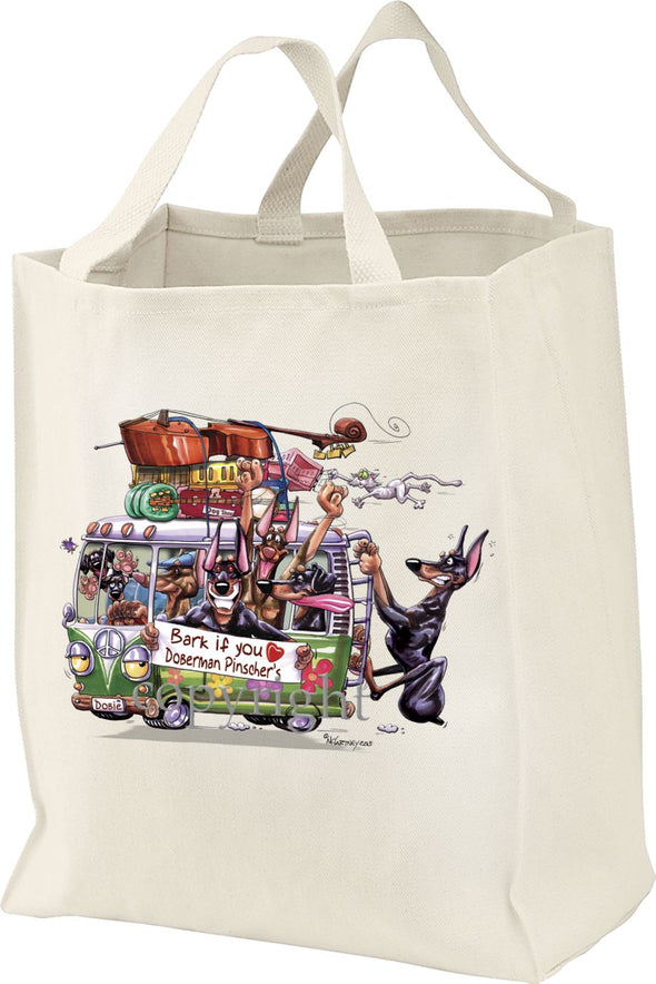 Doberman Pinscher - Bark If You Love Dogs - Tote Bag