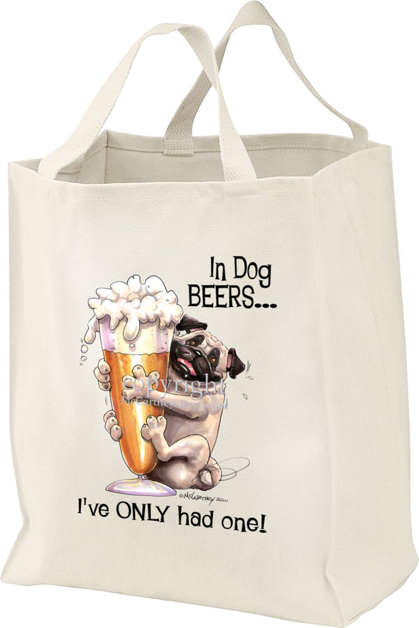 Pug - Dog Beers - Tote Bag