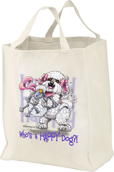Bichon Frise - Who's A Happy Dog - Tote Bag