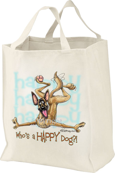 Belgian Malinois - Who's A Happy Dog - Tote Bag