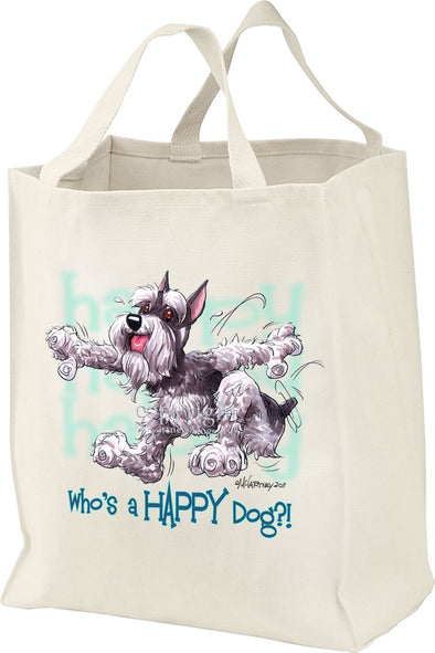 Schnauzer - Who's A Happy Dog - Tote Bag