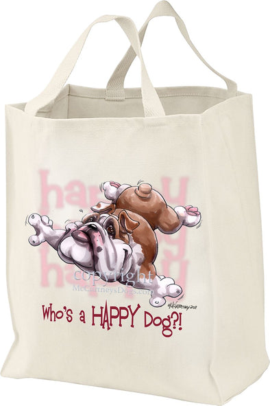 Bulldog - Who's A Happy Dog - Tote Bag