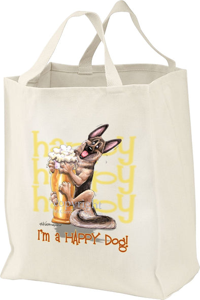 German Shepherd - 3 - Who's A Happy Dog - Tote Bag