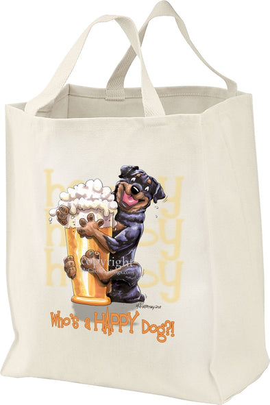 Rottweiler - Who's A Happy Dog - Tote Bag
