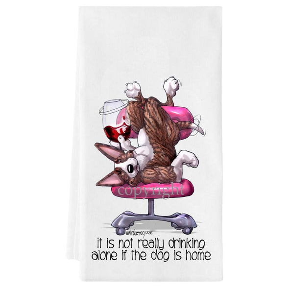 Bull Terrier  Brindle - It's Not Drinking Alone - Towel