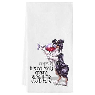 Australian Shepherd  Black Tri - It's Not Drinking Alone - Towel