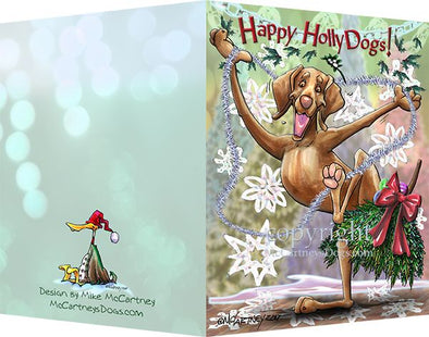 Vizsla - Happy Holly Dog Pine Skirt - Christmas Card