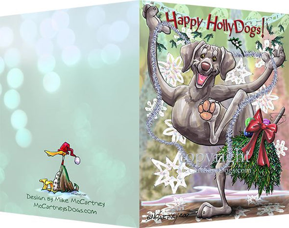 Weimaraner - Happy Holly Dog Pine Skirt - Christmas Card