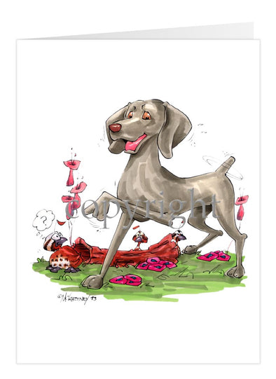 Weimaraner - Pointing - Caricature - Card