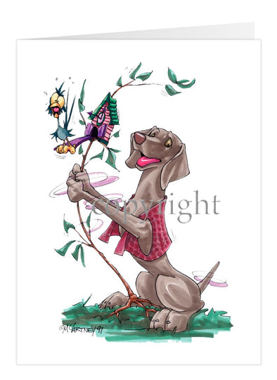Weimaraner - Shaking Cookoo Bird - Caricature - Card