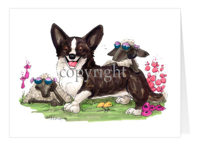 Welsh Corgi Cardigan - Sheep With Shades - Caricature - Card