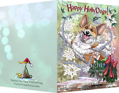 Welsh Corgi Pembroke - Happy Holly Dog Pine Skirt - Christmas Card