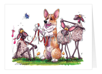 Welsh Corgi Pembroke - Sheep Mocking Corgi Ears - Caricature - Card