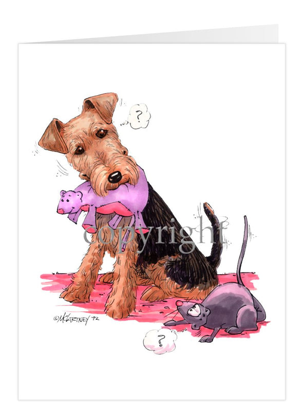 Welsh Terrier - Stuffed Mouse - Caricature - Card